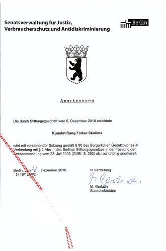 Urkunde Kunststiftung Folker Skulima