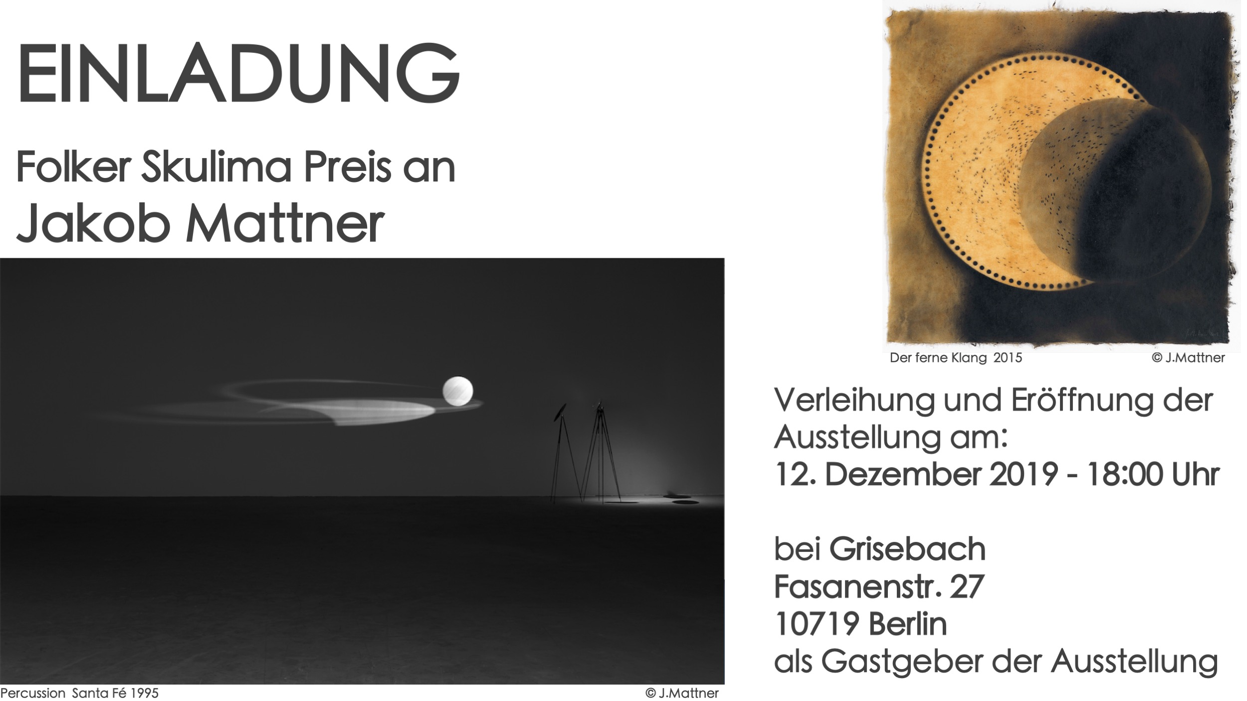 Einladungskarte zur Folker Skulima Preisverleihung an Jakob Mattner