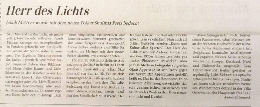 Herr des Lichts in der Kunstzeitung zur Verleihung des Folker Skulima Preises