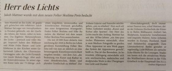 Kunstzeitung zur Verleihung des Folker Skulima Preises an Jakob Mattner