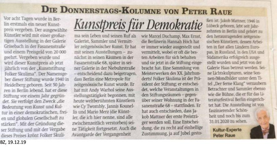 Artikel von on Peter Raue zur Verleihung der Folker Skulima Preises an Jakob Mattner