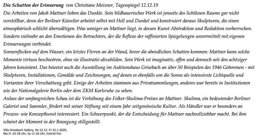 Artikel im Tagesspiegel zur Kunst Jakob Mattners Jakob Mattners von Christiane Meixner