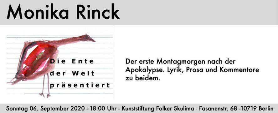 Einladung Monika Rinck - Lesung in der Kunststiftung Folker Skulima